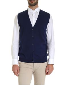 Fay - Virgin wool knitted vest in blue