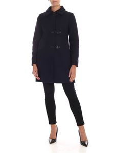 Fay - 3 Ganci Fay blue coat in virgin wool and cashmere