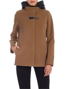 Fay - Coat in camel color with contrasting lining