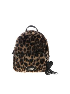 MY TWIN Twinset - Animal print backpack in black and brown