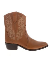 Twin-Set - Texan ankle boot in tabacco color