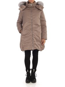 ADD - Fur insert down jacket in dove grey color