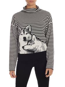 MY TWIN Twinset - Husky inlay striped pullover in black and white