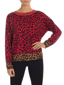 MY TWIN Twinset - Jewel neckline pullover in red