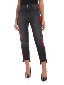 MY TWIN Twinset - Red side stripes jeans in black