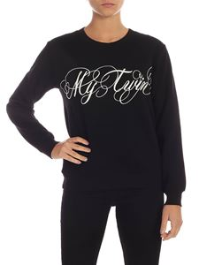 MY TWIN Twinset - White logo embroidery sweatshirt in black
