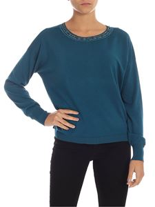 MY TWIN Twinset - Jewel neck pullover in turquoise
