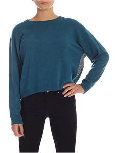 MY TWIN Twinset - Turquoise pullover with lamé finish