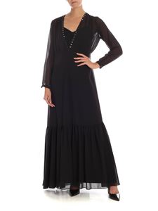 MY TWIN Twinset - Long black dress with jewel detail
