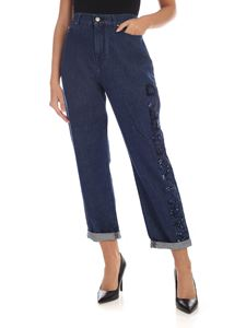 Karl Lagerfeld - Sequin logo jeans in blue