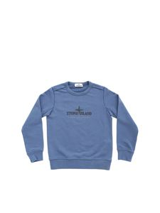 Stone Island Junior - Logo sweatshirt in Air Force blue color