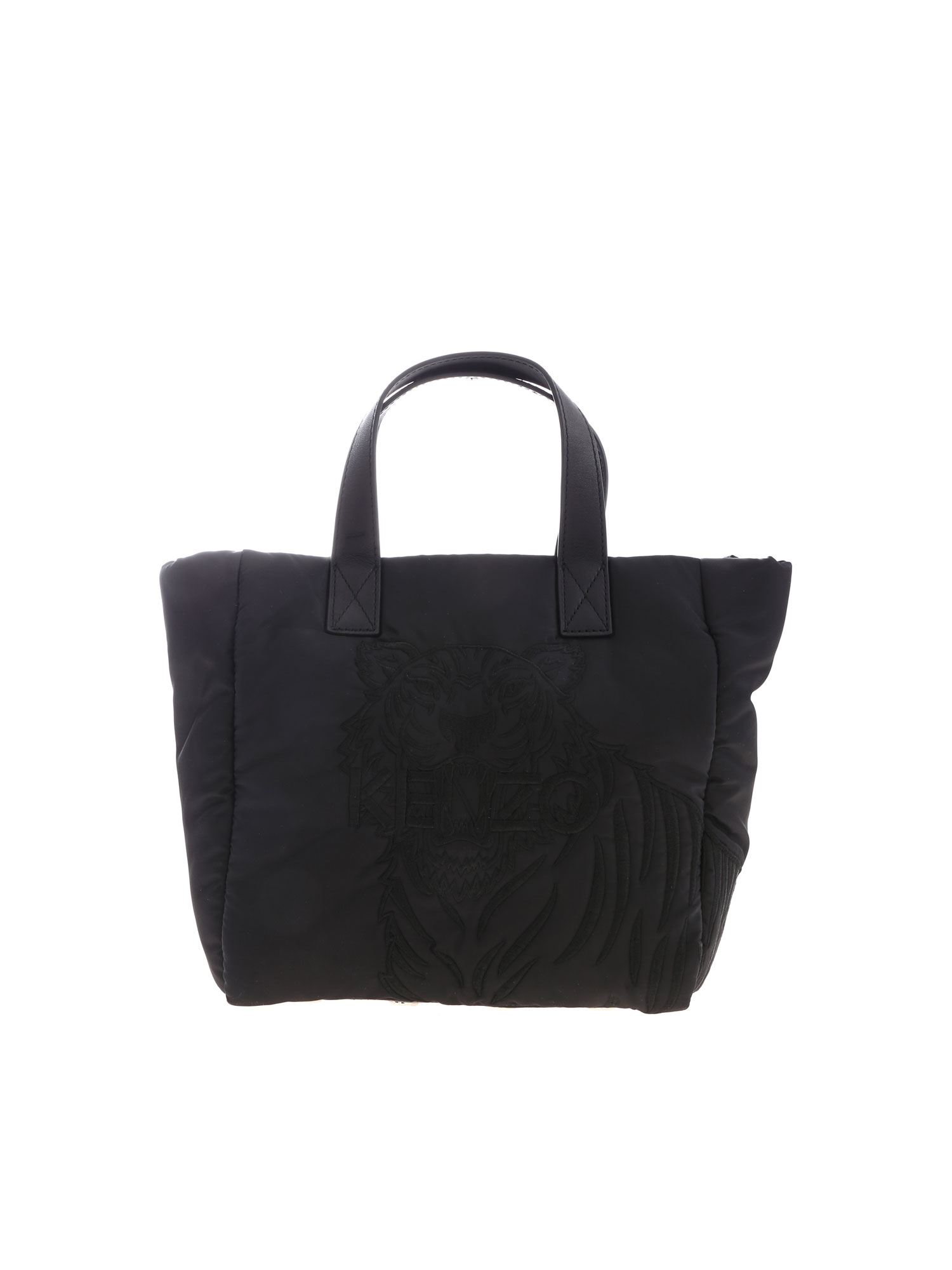 Kenzo Tiger Embroidered Small Tote Bag In Black