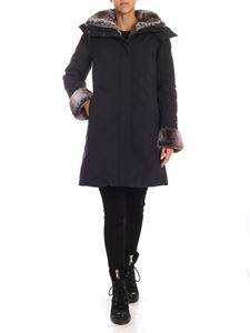 Save the duck - Down jacket in anthracite color with eco-fur details