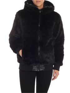 Save the duck - Black eco-fur down jacket