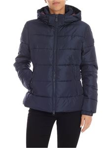 Save the duck - Logo patch down jacket in blue
