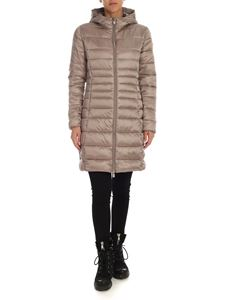 Save the duck - Long fit down jacket in taupe color with logo patch