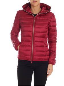 Save the duck - Burgundy down jacket with logo patch
