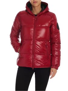 Save the duck - Dark red down jacket with black maxi patch logo