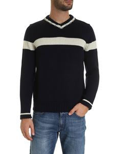 Fedeli - Ivory striped pullover in blue