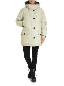 Woolrich - Reversible hooded down jacket in beige