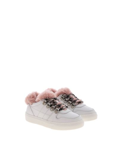 Hogan Junior Fall Winter 19/20 j340 sneakers in white and pink ...