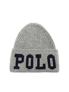 POLO Ralph Lauren - Polo logo beanie in grey