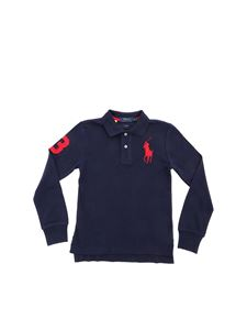POLO Ralph Lauren - Red patch long sleeve polo shirt in blue