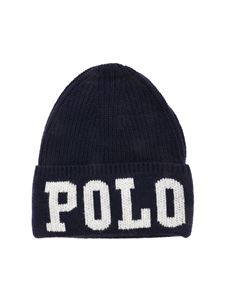 POLO Ralph Lauren - White logo beanie in blue