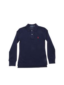 POLO Ralph Lauren - Logo patch long sleeve polo shirt in blue