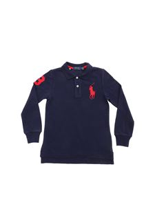 POLO Ralph Lauren - Red logo long sleeve polo shirt in blue