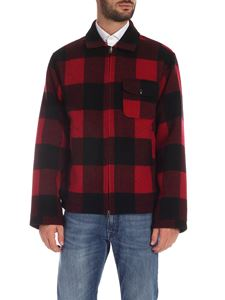 Woolrich - Buffalo check leather jacket in black