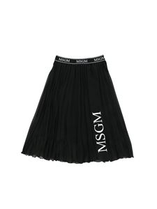 MSGM - Black pleated skirt with logo print