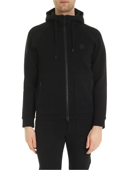 Woolrich - Bonded black sweatshirt with logo patch