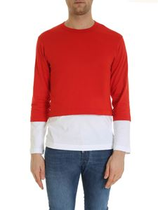 Comme Des Garçons Shirt  - Overlaid t-shirt in red and white