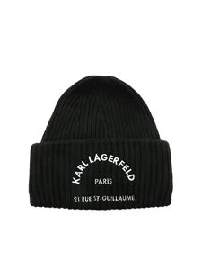 Karl Lagerfeld - Logo embroidery beanie in black