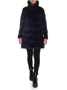 Save the duck - Blue chenille down jacket