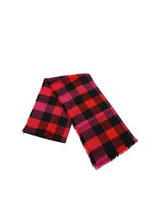 Woolrich - Check print scarf in  black red and fuchsia
