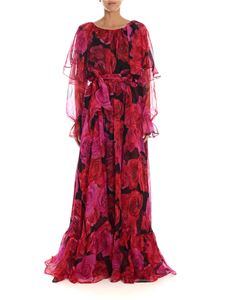 Blumarine - Rose print silk chiffon dress