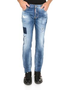 Dsquared2 - Silm jeans in light blue with sponge effect logo
