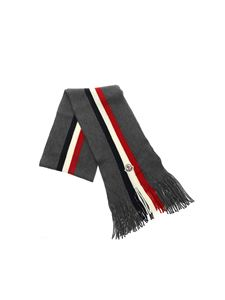 Moncler - Scarf with felt logo in gray
