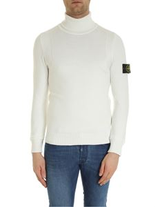 Stone Island - Turtleneck with logo patch in white
