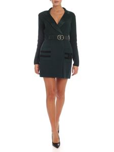 Elisabetta Franchi - Branded pockets knit dress in glass green color