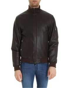 Z Zegna - Padded bomber jacket in brown leather