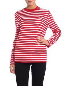 MAISON KITSUNÉ - Fox patch striped t-shirt in red and white