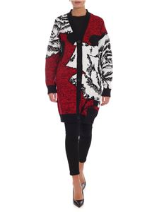 MSGM - Long fit cardigan in black white and red