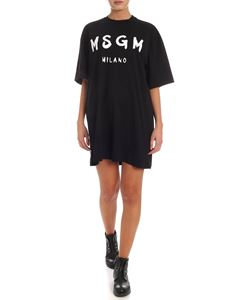 MSGM - Brushed logo print T-shirt in black