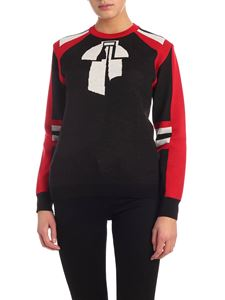 MSGM - Crew-neck pullover in black red and white