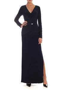 Lauren Ralph Lauren - Crossover neckline long dress in blue