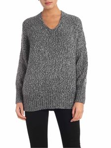 Lorena Antoniazzi - Oversized lamé pullover in gray and white