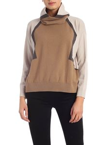 Lorena Antoniazzi - Collar included pullover in brown and taupe color